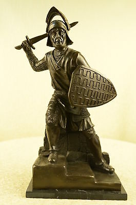 Medieval Knight On Horse  Bronze Statue, Signed Sculpture Marble Figurine