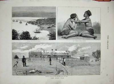 Original Old Antique Print 1879 Zulu War Farm Labourers Cape Town Durban Women