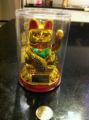 """9""""Japanese Waving Lucky Cat -(Solar Powered Batteries Not Required!)"""