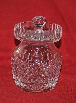 """Waterford Crystal Alana Pattern Jam, Jelly, Honey or Condiment Jar w/ Lid 4-3/4"""""""
