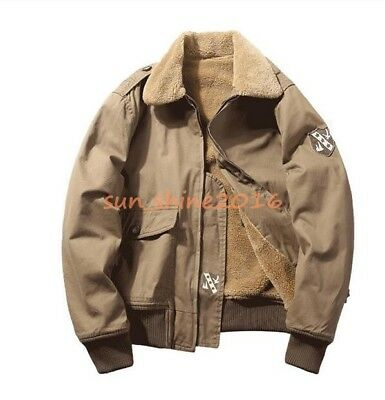 f57c76cfd39 Men Tanker Deck Flight Military Lamb Lined Coat Jacket Bomber Army Warm  Overcoat
