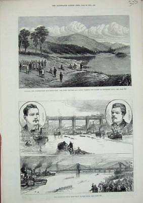 Old Antique Print 1879 Anglo-Canadian Boat Race Tyne Waterworks Edinburgh 19th