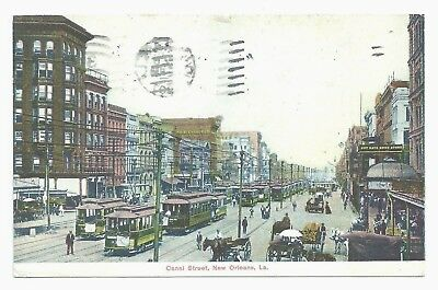 New Orleans, LA - Canal St. & Dozens of Trolley Cars ca.1907 Louisiana Postcard