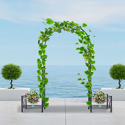 Outsunny 7ft x 7ft Metal Garden Arch Backyard Bridal Wedding Decoration Outdoor