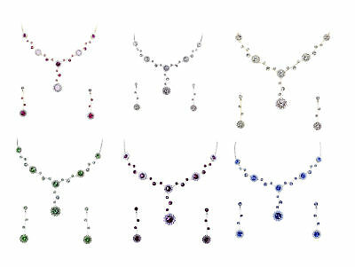 Gorgeous Rhinestone Crystal Floral Necklace Earrings Set