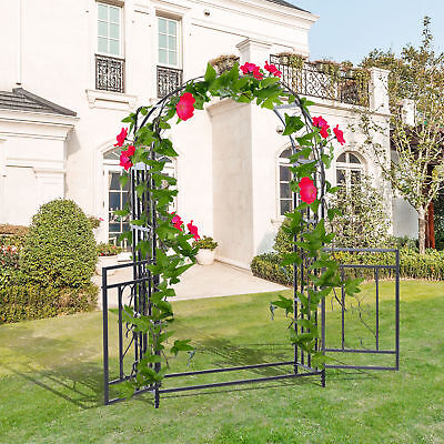 Outsunny 4ft x 7ft Metal Garden Arch Backyard Bridal Archway Wedding Decoration