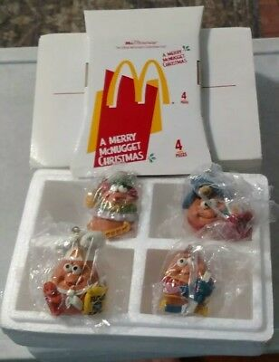 Vintage McDonald's Merry McNugget Christmas Ornaments Set of 4 Box