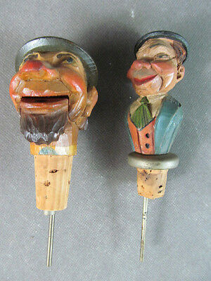 2 Hand Carved Figural WOODEN BOTTLE STOPPERS