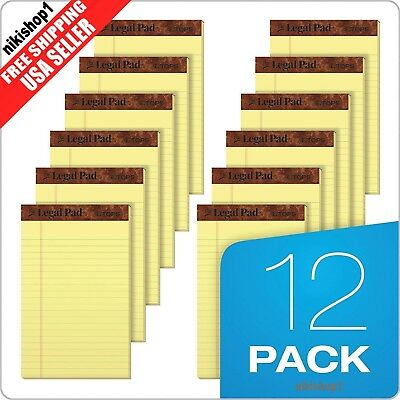 "12 Pack 50 Sheet 5"" x 8"" Canary Yellow Wide Rule Writing Legal Pad School Office"