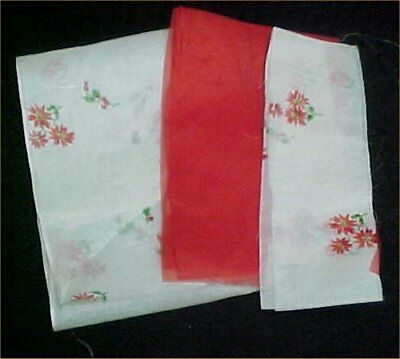 Vintage Antique Cotton Doll Dress Fabric 1930s Sheer Stiff Organdy RED & Print