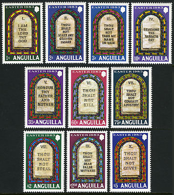 Religion Ten Commandments 1983 Easter Anguilla 526-535 Mint NH Cplt $15. Retail