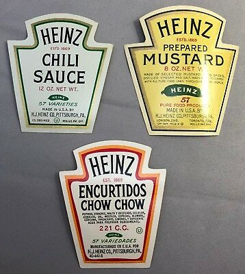 3 1930s HEINZ CHILI Sauce MUSTARD Chow Chow Die Cut Advertising Labels Vintage