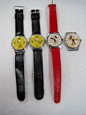 Vintage Snoopy and Mickey Mouse Watches ( Lot of 4 total)