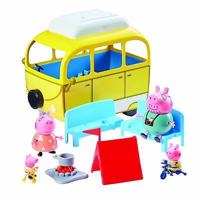 Peppa Pig Camping Trip Yellow Playset 4x Family Figures Tent Bikes Campervan 3+
