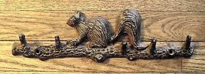Cast Iron BROWN SQUIRREL on a Branch with HOOKS ~ Wall Mount Rack ~