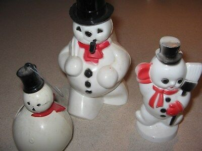 Group of 3 Snowmen Plastic Collection Lot As shown Vintage Christmas