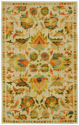 Mohawk Yellow Distressed Faded Petals Contemporary Area Rug Floral Z0004 A299