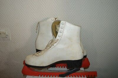 Patin A Glace Patinage Alviera Cuir Ice Skate Dance  Leather Taille 42 Vintage