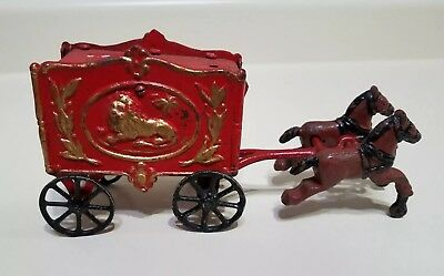 Vintage Cast Iron Red Lion Circus Horse Drawn Cart Wagon