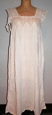 Antique Victorian White Cotton and Lace Night Gown Nightgown As-Is Study Repair