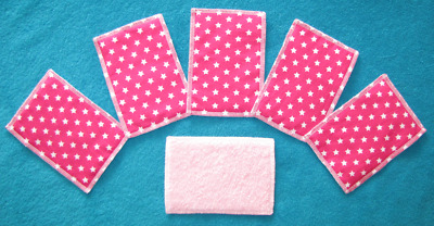 LOT de 12 Lingettes Lavables Rectangle motif  ETOILES  Fushia  10,5 x 15 cm