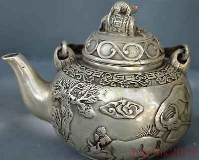 Collection Hand Miao Silver Carve Cow Willow Tree Mice Lid Ancient Noble Tea Pot
