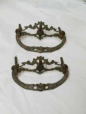 "2 Antique ORNATE Solid Brass Drawer Pulls Handles - Delicate DETAILING! 3"" OC"