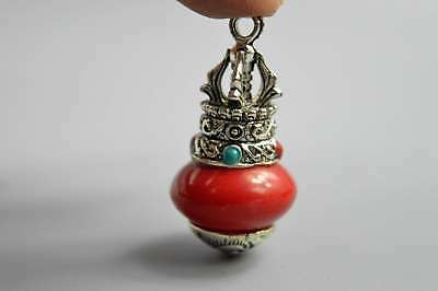 Collectable Handwork Decor Miao Silver Carve Totem Inlay Agate Exorcism Pendant