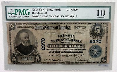 Chase National Bank of the City of NY. 1902 PB Ch#2370 Fr#606 PMG VG 10