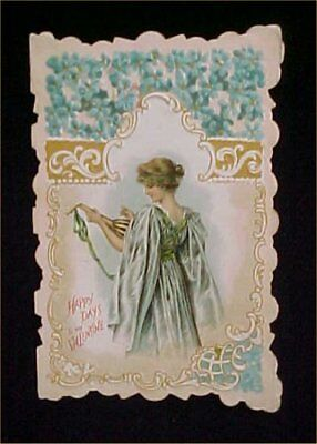 Vintage Valentines Day Card Victorian Embossed Girl Lute Antique Scalloped Edge