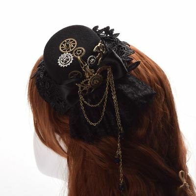 1pc Victorian Steampunk Mini Top Hat Gear Lace Chain Hair Clip Hair Accessory