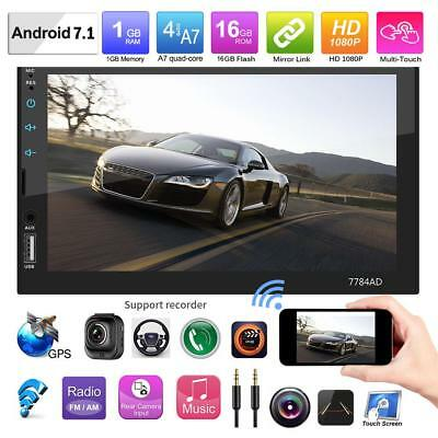 7'' 2Din Android7.1 Car Stereo MP5 Player GPS Nav WiFi Bluetooth FM AM Radio+Map