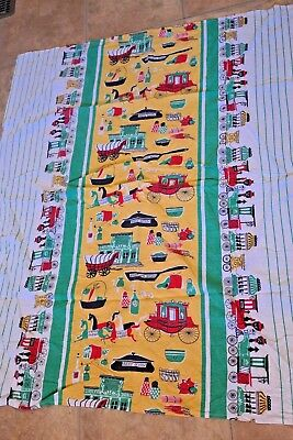 Vintage Child Feed Sack Tablecloth Trains Stagecoach Covered Wagon