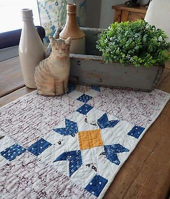 Wonderful Early Fabrics! Antique Goose Tracks Table Quilt Runner 30x13