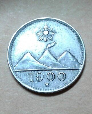 1900 1/4 Real Silver Guatemalan Coin This Is A Real Silver Coin Rare