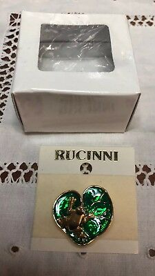 Vintage Rucinni Figural Frog On Water Lily Pad Baked  Enamel Green  / Gold Tone
