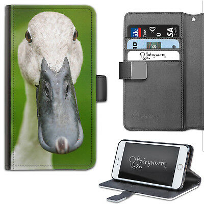 Grey Duck Phone Case, Leather Wallet Flip Case, Cover For Samsung, Apple, Sony