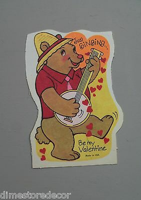 Vtg Valentine Card 70's 80's Bear Playing Banjo Player Singing UNUSED