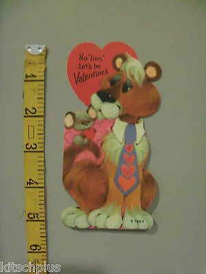 Vtg Valentine Card 70's Wide Neck Tie Mouse Pete Hawley No Lion