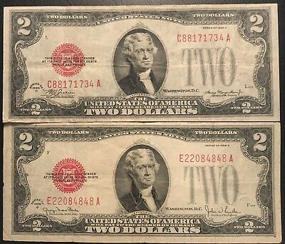Pair of 1928 $2 United States Notes * Circulated 2 Different Series.