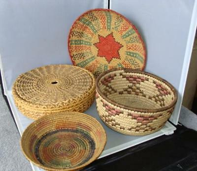 Vintage Lot of 4 Native American Woven Reed Baskets