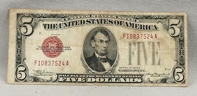 1928-C $5 UNITED STATES Legal Tender RED SEAL Note! NO RESERVE!
