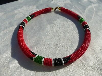 WONDERFUL Native American Beaded Collar NECKLACE Great Christmas Colors Red +