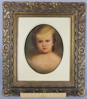 19thC Antique THOMAS B WELCH Portrait Oil Painting, Young Girl Sunflower Frame