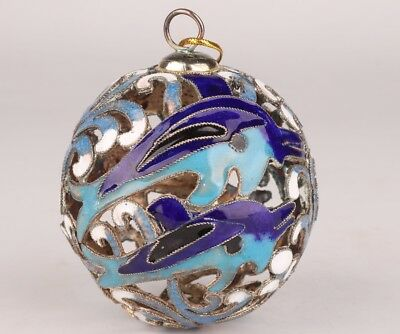Chinese Cloisonne Enamel Pendant Ball Handmade Hollowed-Out Mascot Collec Gift