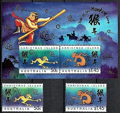 Christmas Island 2004 Year Of The Monkey Mini Sheet & Set X 2.mnh As Is See Scan