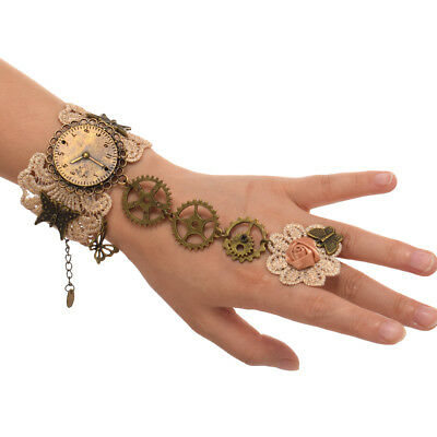 Gothic Lady Steampunk Watch Gear Bracelet With Ring Victorian Lace Wrist Cuff