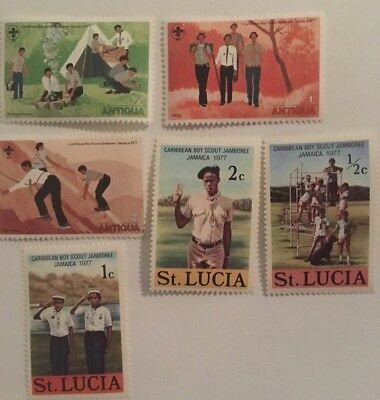 1977 Caribbean Boy Scout Jamboree NEW Stamps lot of 6