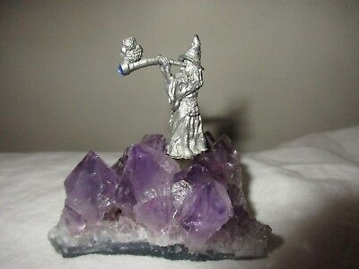 Pewter Wizard Figurine On A Purple Amethyst Quartz Stone Base, Sculpture