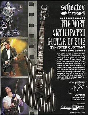 Avenged Sevenfold Synyster Gates Signature Schecter Custom-S guitar 8 x 11 ad